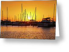 Sunrise Over Long Beach Harbor - Mississippi - Boats Greeting Card