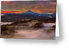 Sunrise Over Mount Hood And Sandy River Valley Greeting Card