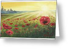 Sunrise Over Poppies Greeting Card