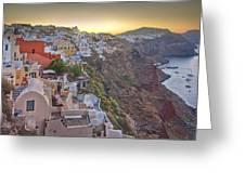 Sunrise Over Santorini, Greece 1 Greeting Card