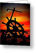 Sunrise Over The Captain's Wheel 2 Greeting Card