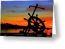 Sunrise Over The Captain's Wheel Greeting Card