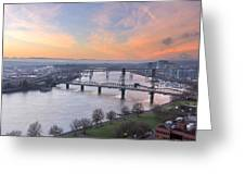 Sunrise Over Willamette River By Portland Greeting Card
