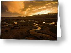Sunrise Over Winding Rivers Greeting Card by Wesley Aston