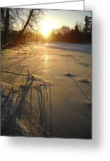 Sunrise Reflecting Off Mississippi River Ice Greeting Card