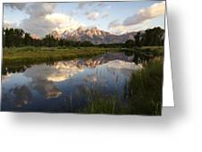 Sunrise Reflection At Schwabacher Landing  Greeting Card