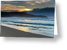 Sunrise Seascape With Headland And Clouds Greeting Card