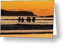 Sunrise Seascape With People Silhouettes Greeting Card