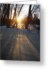 Sunrise Shadows On Ice Greeting Card