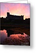 Sunrise Silhouetting Dunvegan Castle S Greeting Card