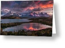 Sunrise Spectacular At Torres Del Paine. Greeting Card