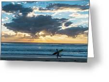 Sunrise Surfer Running Delray Beach Florida Greeting Card
