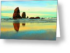 Sunrise  The Needles At Cannon Beach Greeting Card