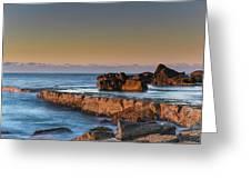 Sunrise, The Sea And Tessellated Rock Platform Greeting Card