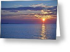 Sunrise With Boat Greeting Card