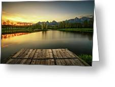 Sunset Above A Lake In High Tatra Mountains In Slovakia Greeting Card