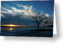 Sunset Along The Mississippi River Greeting Card