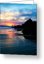 Sunset And Clouds Over Crescent Beach Greeting Card