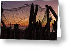 Sunset And Fishing Net Cape May New Jersey Greeting Card