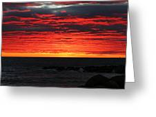 Sunset And Jetty Greeting Card by William Selander