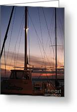 Sunset And Sailboat Greeting Card