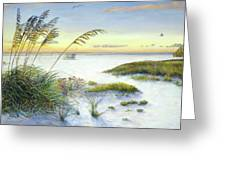 Sunset And Sea Oats At Siesta Key Public Beach -wide Greeting Card