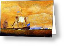 Sunset And Ships Greeting Card