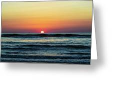 Sunset And Waves Greeting Card