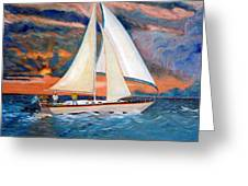 Sunset And Yacht Greeting Card by Kostas Koutsoukanidis