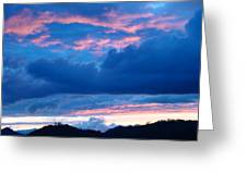 Sunset Art Print Blue Twilight Clouds Pink Glowing Light Over Mountains Greeting Card