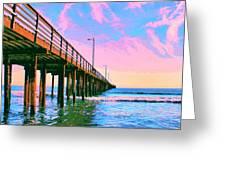 Sunset At Avila Beach Pier Greeting Card