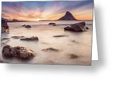 Sunset At Bleik Greeting Card