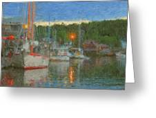 Sunset At Boothbay Harbor Maine Greeting Card