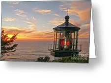 Sunset At Cape Meares Greeting Card