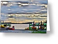 Sunset At Coastal Kayak Greeting Card