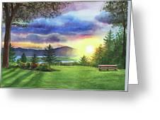 Sunset At Columbia River State Of Washington Greeting Card