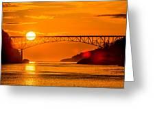 Sunset At Deception Pass Bridge Greeting Card
