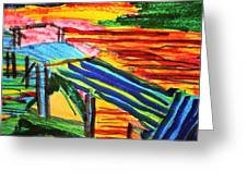 Sunset At Dock Greeting Card