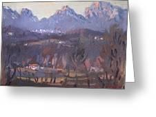 Sunset At Dolomites Belluno Greeting Card