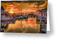 Sunset At Fisherman's Cove Greeting Card