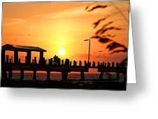 Sunset At Fort De Soto Fishing Pier Pinellas County Park St. Petersburg Florida Greeting Card