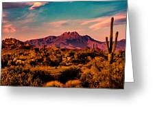 Sunset At Four Peaks Greeting Card