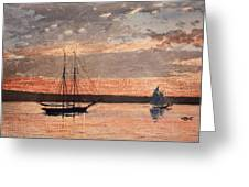 Sunset At Gloucester Greeting Card