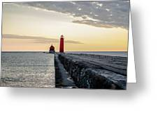Sunset At Grand Haven Greeting Card