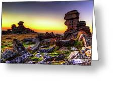 Sunset At Great Staple Tor On Dartmoor Greeting Card