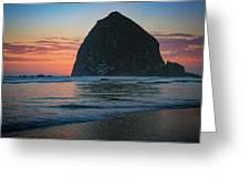 Sunset At Haystack Rock Greeting Card