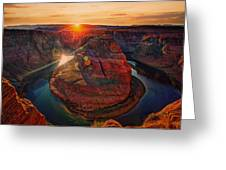 Sunset At Horseshoe Bend Greeting Card