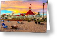 Sunset At Hotel Del Coronado Greeting Card