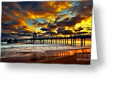 Sunset At Huntington Beach Pier Greeting Card by Peter Dang