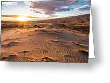 Sunset At Kelso Dunes Greeting Card